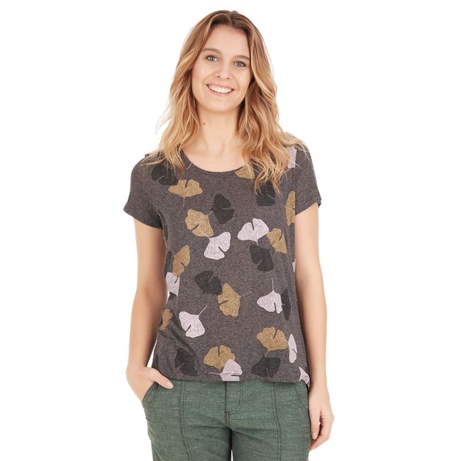 Camiseta-Folhas-Color---Cinza-Escuro