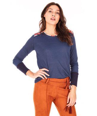 Camiseta-Estampa-Floral---Azul-Marinho