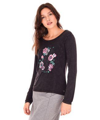 Camiseta-Manga-Longa-Flores---Preto