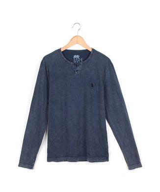 Camiseta-Manga-Longa-Marmorizada---Azul-Marinho---Tamanho-M