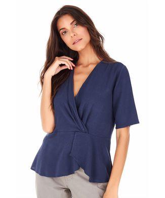 Camisa-Manga-Curta-Transpasse---Azul-Marinho---Tamanho-M