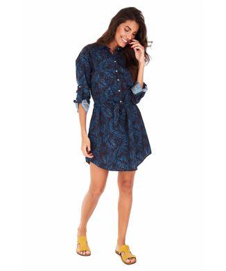 Vestido-Chemise-Folhagem---Azul-Medio---Tamanho-P