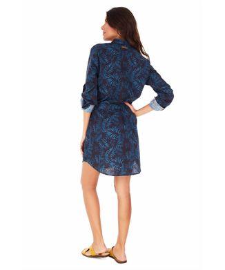 Vestido-Chemise-Folhagem---Azul-Medio---Tamanho-M