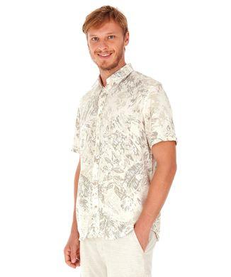 Camisa-Manga-Curta-Folhagens---Kaki---Tamanho-P