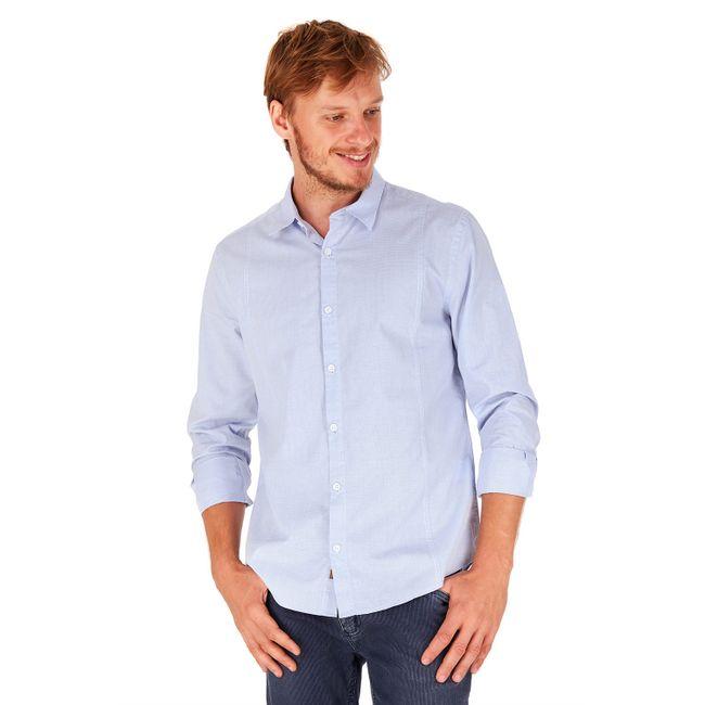 Camisa-Micro-Xadrez---Azul-Claro---Tamanho-P