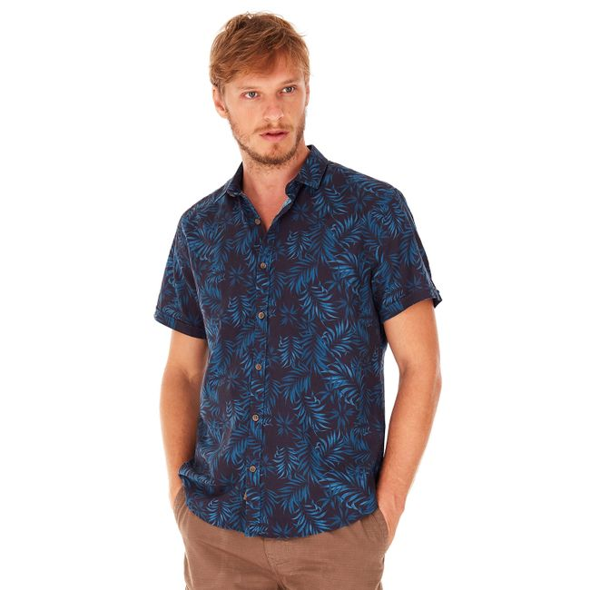 Camisa-Mang-Curta-Folhagem---Azul-Medio---Tamanho-P