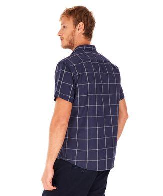 Camisa-Manga-Curta-Xadrez---Azul-Marinho---Tamanho-P