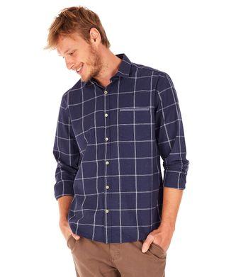 Camisa-Xadrez-Botone---Azul-Marinho---Tamanho-M