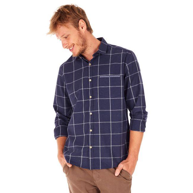 Camisa-Xadrez-Botone---Azul-Marinho---Tamanho-G