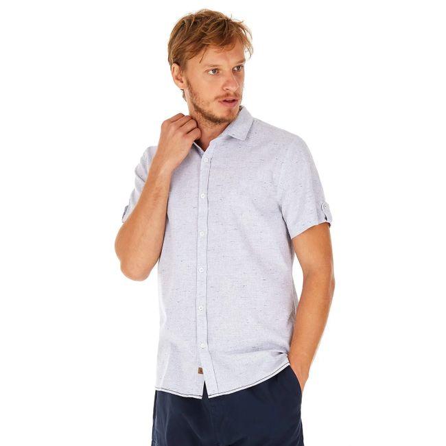 Camisa Manga Curta Listras - Azul Claro