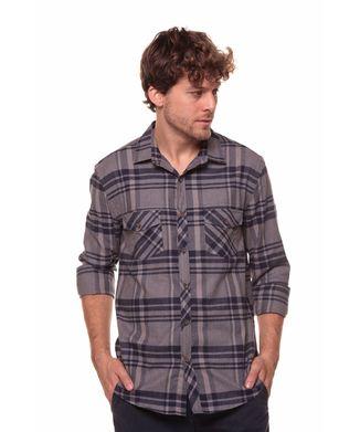 Camisa-Xadrez-Largo---Cinza-Escuro---Tamanho-P